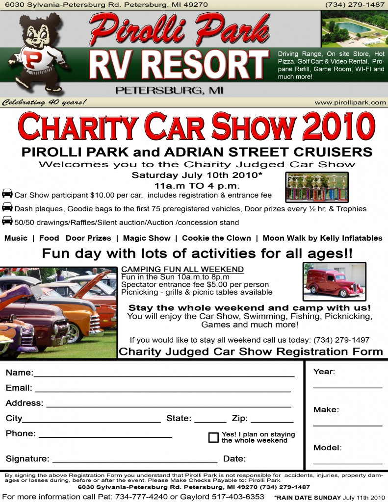 2010 Pirolli Park - Car Show Flyer